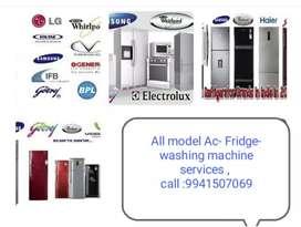 Ac ,Fridge , washing machine service. Electrical work all so