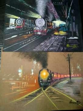 Art by Chalk on card board paper