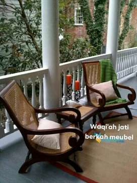 Kursi santai rotan minimalis mewah, 1 sat, bahan kayu jati tua asli