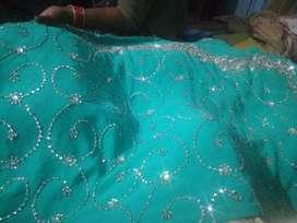 C green party wear saree
