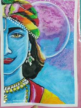 LORD KRISHNA OIL PASTEL PAINTING IDEAL FOR WALL DECORATION