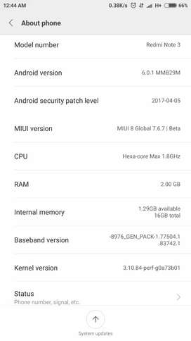 MI note 3, RAM 2GB, INTERNAL MEMORY 16 GB
