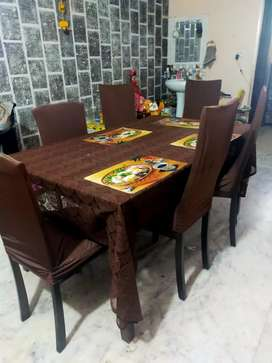 Dining table and chairs 6 seater adjustment table