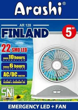 ARASHI AR 128 FINLAND Lampu LED Emergency Lamp + Kipas/Fan + Powerbank