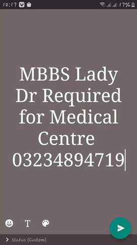 MBBS Lady Dr Required contact immediately