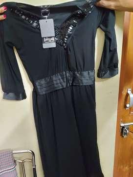 Black knee length embellished dress