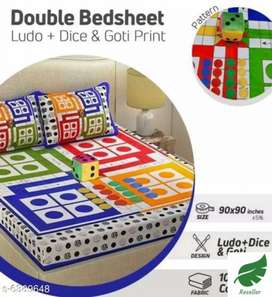Ludo Bedsheet with Pillow covers 1 dice and 16 Gottis. (new)