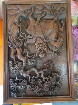 Ukiran kayu jati sangat kuno kondisi bagus Ukuran P 68cm L 47cm