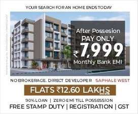 %1BHK  Flat in best price  for Sale located  In Saphale, Palghar.%