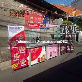 booth portable gerobak lipat meja jualan, container stand promosi rak
