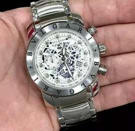 jam tangan bulgari mewah automatic 3 chrono on silver putih