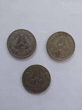 India rare coin half rupee