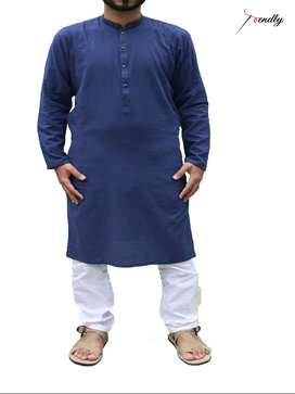 Dotted Blue Cotton Kurta
