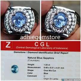 Promo Batu cincin natural asli blue sapphire H srilanka1.33ct
