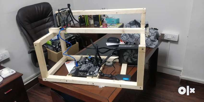 Wooden rig stand for mining pc