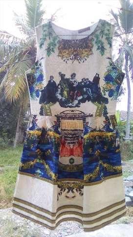 Dress korea printed emboss