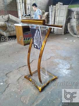 Podium Stainless Gold Minimalis Model Mimbar Acrylic 64