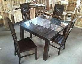 Meja makan kursi ukir daun