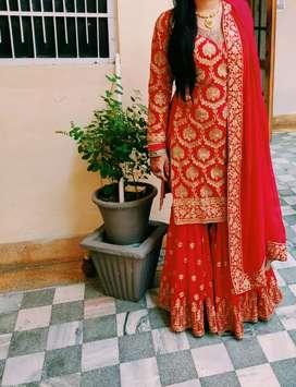 Beautiful golden & red sharara
