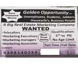 Wanted telecallers &marketing executives salary and commission based