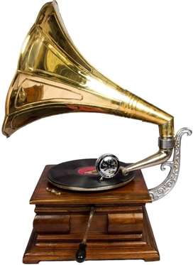 Global Art World Desk Music Box Phonograph Square Hmv Old Music Box A