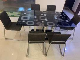 Goderj interio black coloured dining table with 6 chairs
