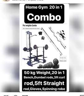 Home gym 20 in 1 bench with combo