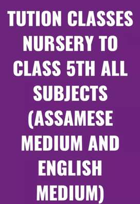 TUTION CLASSES NURSERY TO CLASS 5TH ALL SUBJECTS .