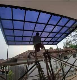 Kanopi minimalis rangka hollow atap solarflat 091