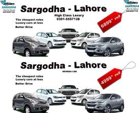 Cars with Driver are available from Sargodha to all cities of Pakistan