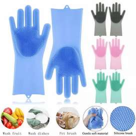 Silicone Rubber Dish Washing Gloves Eco-Friendly Scrubber Cleaning
