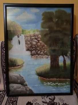 Waterfall scenery painting