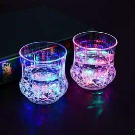 LED Flashing Glowing Water Liquid Activated  Up Glass Cup