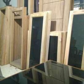 Satu set Jendela plus kusen dan GRATIS LOSTER bahan kayu kamper kruing