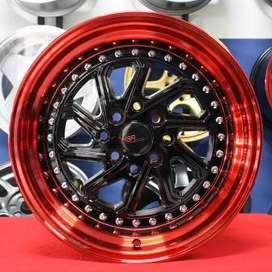 Velg murahnya DOBO JD215 HSR R16X8/9 H8X100-114,3 ET30/25 BK/REDL