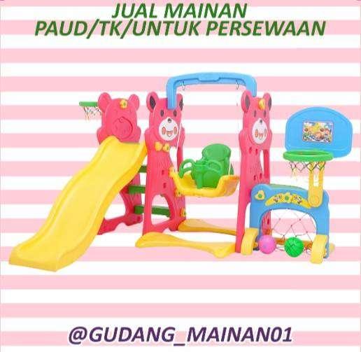 mainan playground ayunan, ring basket,gawang dan perosotan murah 0