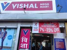 Fresher male and female candidate required in vishal mega mart