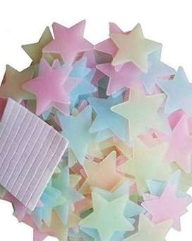 Pack of 100 - 3D Stars Glow In The Dark Wall Stickers Luminous Fluores