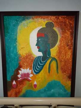 Buddha Canvas Painting size 5'4'. Vibrant colors.