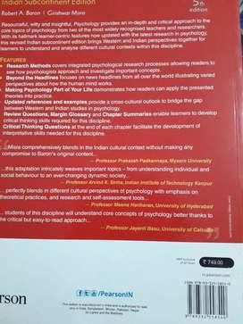 seal packed psychology Robert A.baron/Girishwar Misra book 5th edition