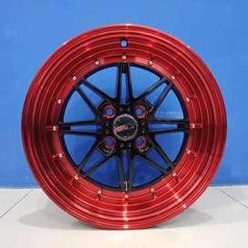 Cicil Velg Mobil Yaris Mirage DP 10% Ring 16 HSR KAWAI H4X100 BK Red