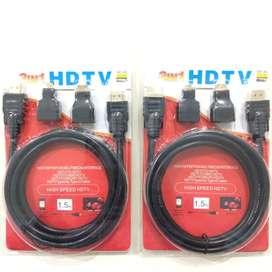 B A R U KABEL HDMI 3in1 HDTV 1.5 meter Istimewa untuk TV/PS/PC/Laptop