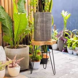 Pot Large Marble Terrazzo Cylinder