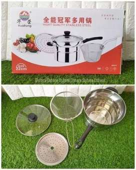 Deep Fryer 22 cm Multifungsi pot 3 in 1 - Stainless