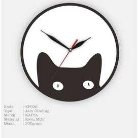 Jam Dinding Bulat KAYYA Motif Kucing Creative [KP026]