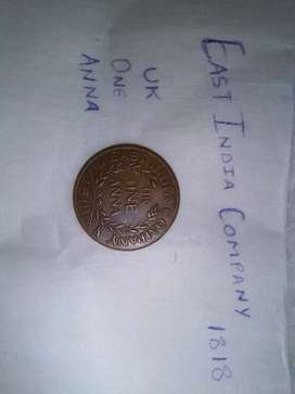 Old coin (East India Company) UK One Anna 1818