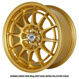 FREE ONGKIR VELG SPIDER H1093 HSR R15X7 H8X100-114,3 ET38 GOLD