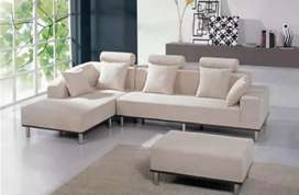 Simple cream fabric L shape sofa with 5 years of warranty
