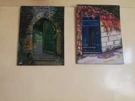 Set of door themed paintings