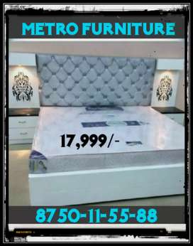 King size  white colour double bed